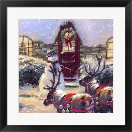 Framed Reindeer And Snowman 2 Print