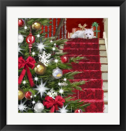 Framed Dog On Stairs Print