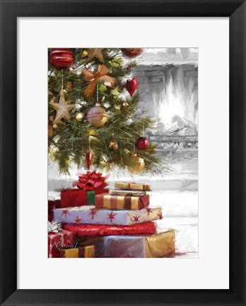 Framed Presents Under Tree 2 Print