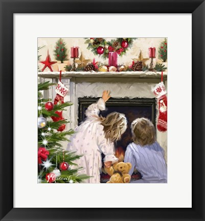 Framed Girl And Boy Looking Up Chimney Print