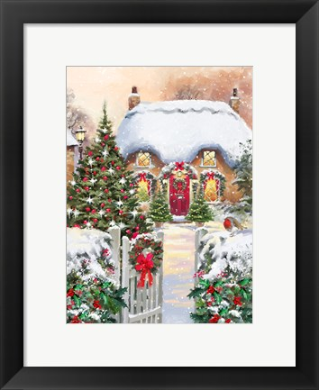 Framed Winter Cottages 1 Print