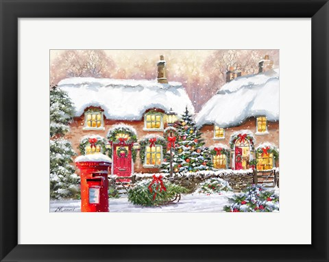 Framed Winter Cottages 2 Print