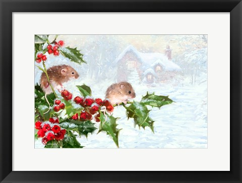 Framed Woodmice x2 Print
