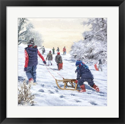 Framed Pushing Sled Print