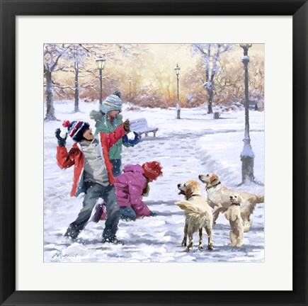 Framed Fun In The Snow Print