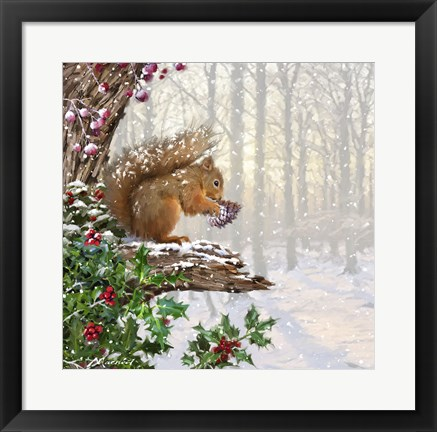 Framed Christmas Squirrel Print