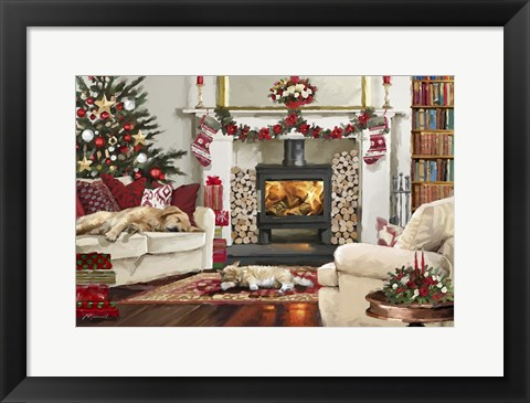 Framed Pets By Fire Print