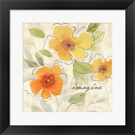 Framed Bright Yellow Garden Trio III Print