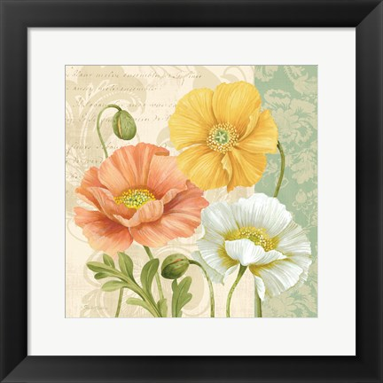 Framed Pastel Poppies Multi II Print