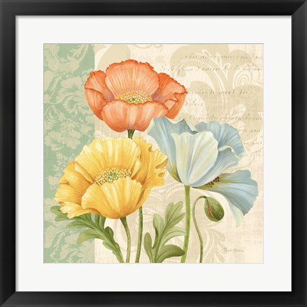 Framed Pastel Poppies Multi I Print