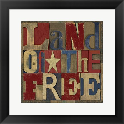 Framed Patriotic Printer Block II Print