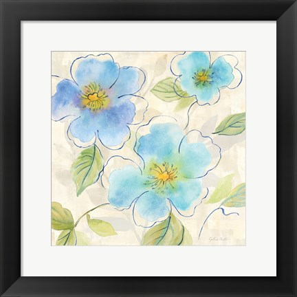 Framed Blue Poppy Garden I Print
