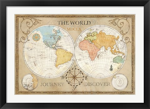 Framed Old World Journey Map Cream Print