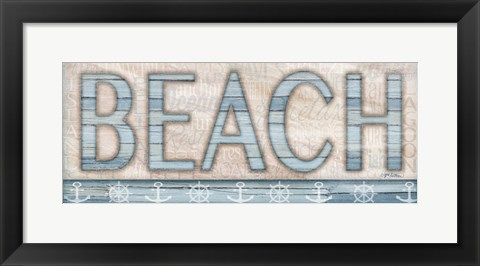 Framed Driftwood Beach Sign I Print