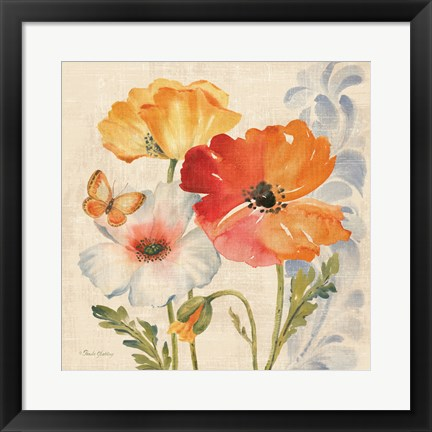 Framed Watercolor Poppies Multi II Print