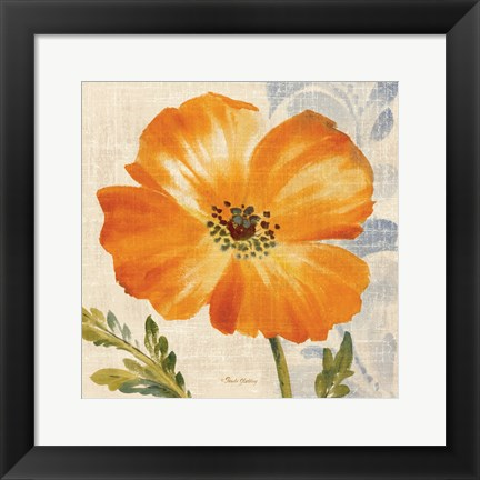 Framed Watercolor Poppies III (Orange) Print