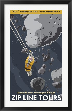 Framed St-Space-06 Spacetravel Asteroids Print