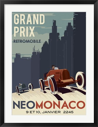 Framed Vintage Car Race Print