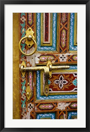 Framed Fez, Morocco. Painted Wooden Door in the Old City Print