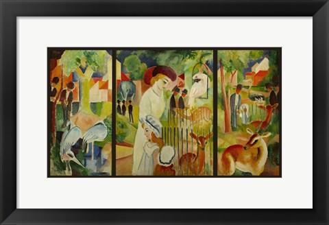 Framed Large Zoological Garden (Triptych) Print
