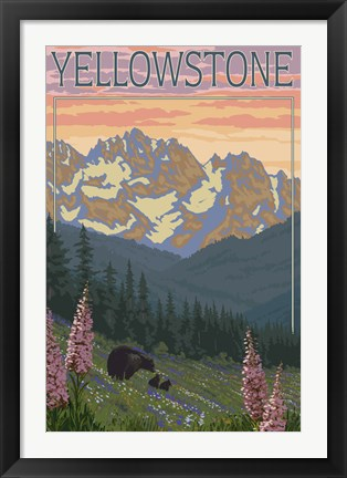 Framed Yellowstone Mountains Print