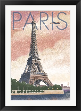 Framed Paris Pink Eiffel Tower Print