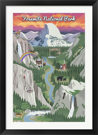 Framed Yosemite Mountains And Rainbow Print