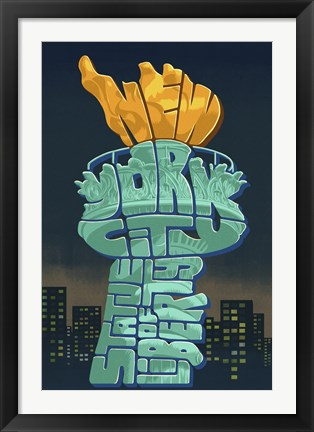 Framed New York Liberty Torch Text Print
