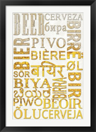 Framed Beer In Different Languages Print