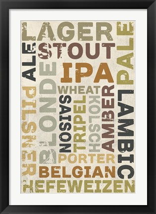 Framed Lager In Different Languages Print