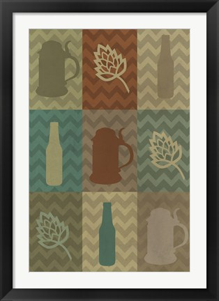 Framed Beer Bottle And Stein Print