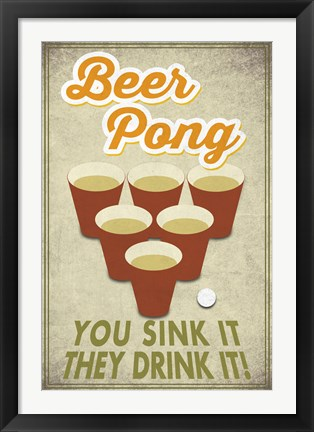 Framed Beer Pong Sink It Print