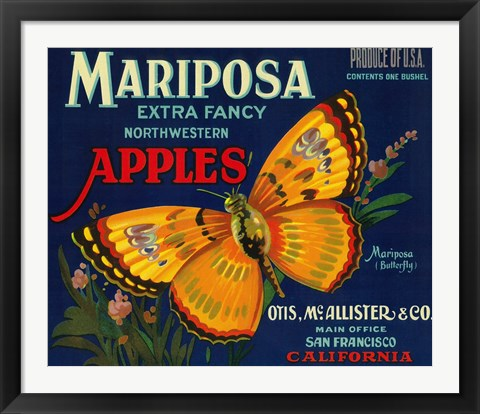 Framed Mariposa Apples Butterfly Ad Print