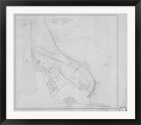 Framed Munjoy Hill, Maine Map Print
