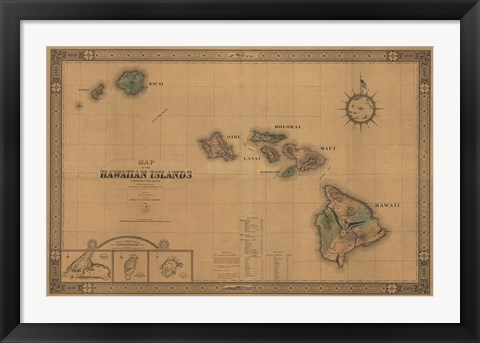 Framed Hawaiian Islands Map Print