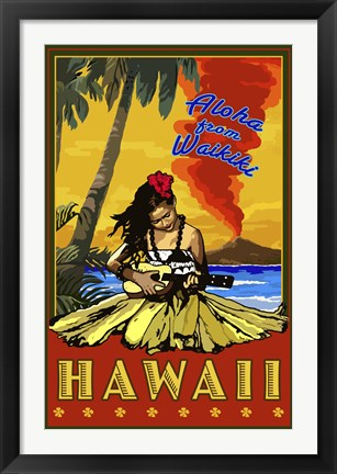 Framed Aloha From Waikiki Print