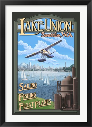 Framed Lake Unions Seattle Fishing Print