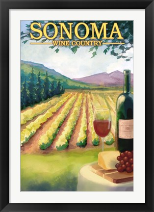 Framed Sonoma Wine Country Ad Print