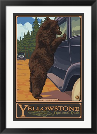 Framed Don't Feed The Bears Yellowstone Print