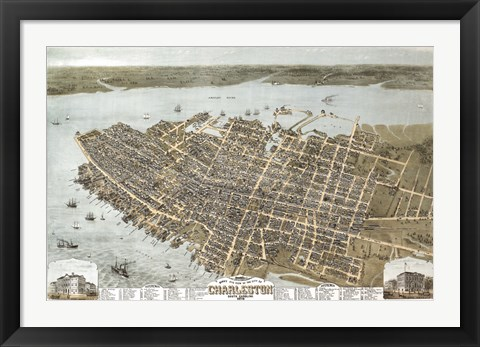 Framed Charleston, South Carolina Map Print