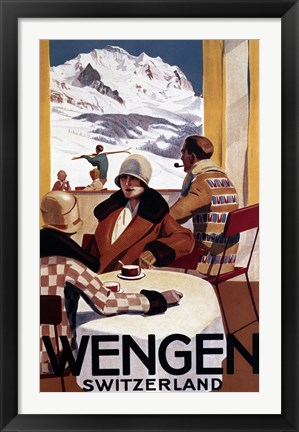 Framed Wengen Switzerland Ad Print