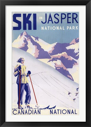 Framed Ski In Jasper Canadian National Print