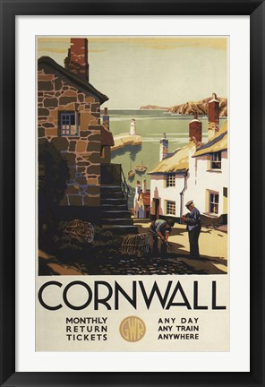 Framed Cornwall Village Train Ad Print