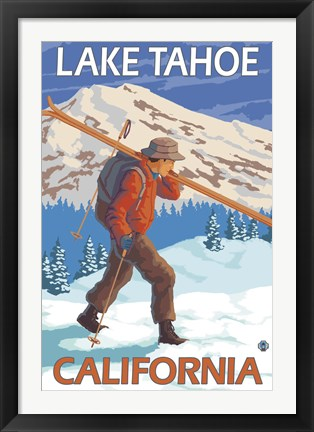 Framed Lake Tahoe California Ski Print