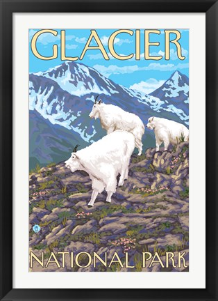 Framed Glacier National Park Mountain Ad Print