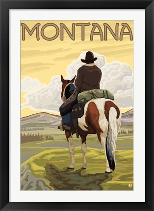Framed Montana Cowboy On Hourse Print