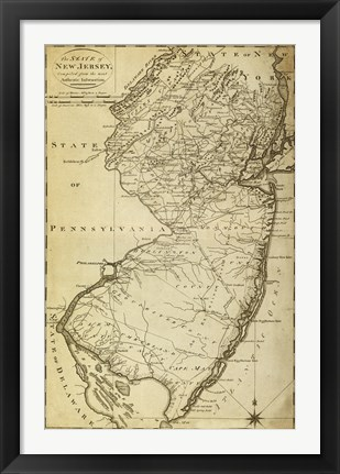Framed New Jersey State Map Print