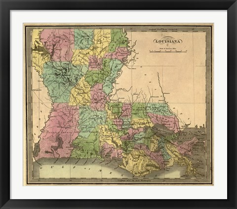 Framed Map of Louisiana Print