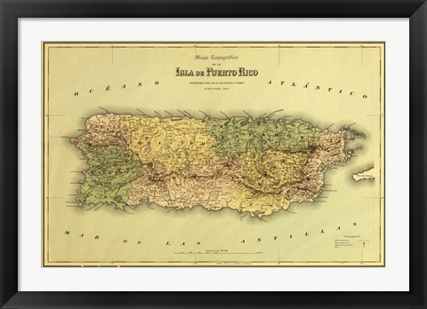 Framed Island of Puerto Rico Map Print