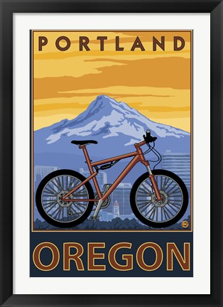 Framed Portland Oregon Bike Ad Print